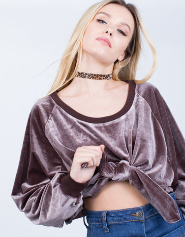 Velvet Cropped Sweater Top