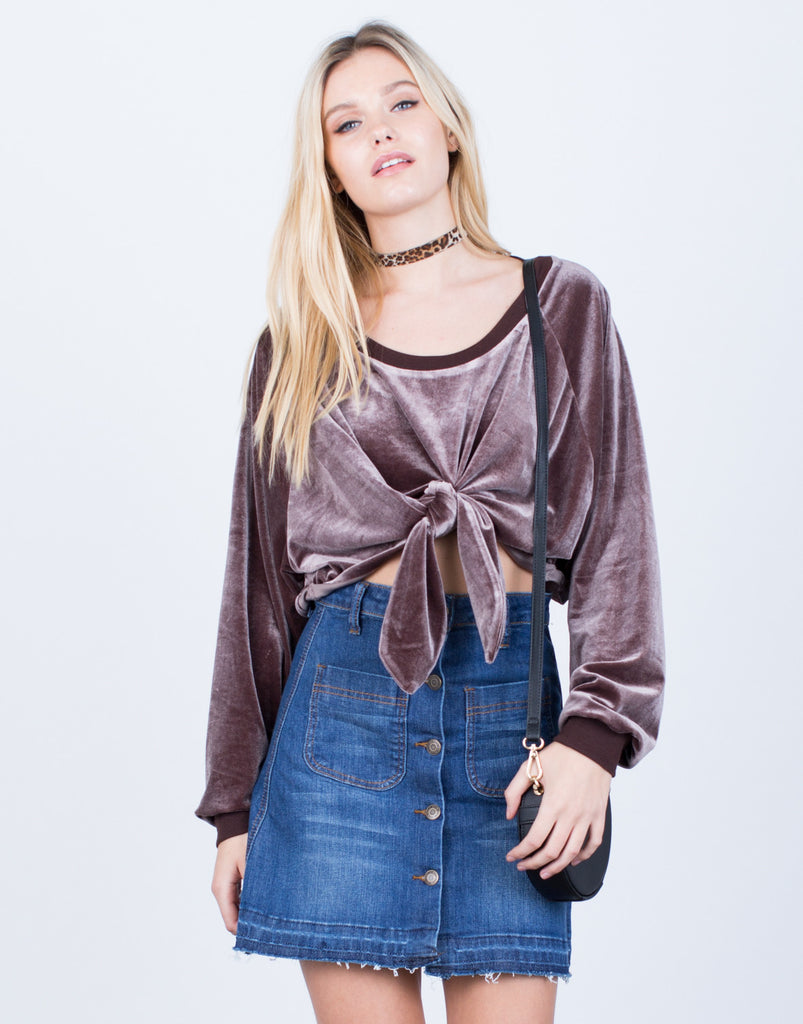 Velvet Cropped Sweater Top Tops -2020AVE