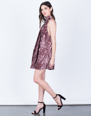 Side View of Velvet Crush Party Dress