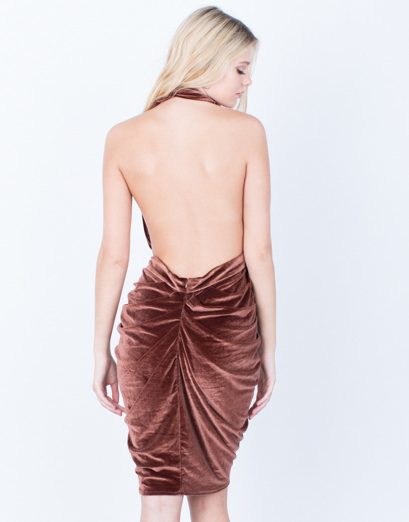 Back View of Velvet Halter Dress