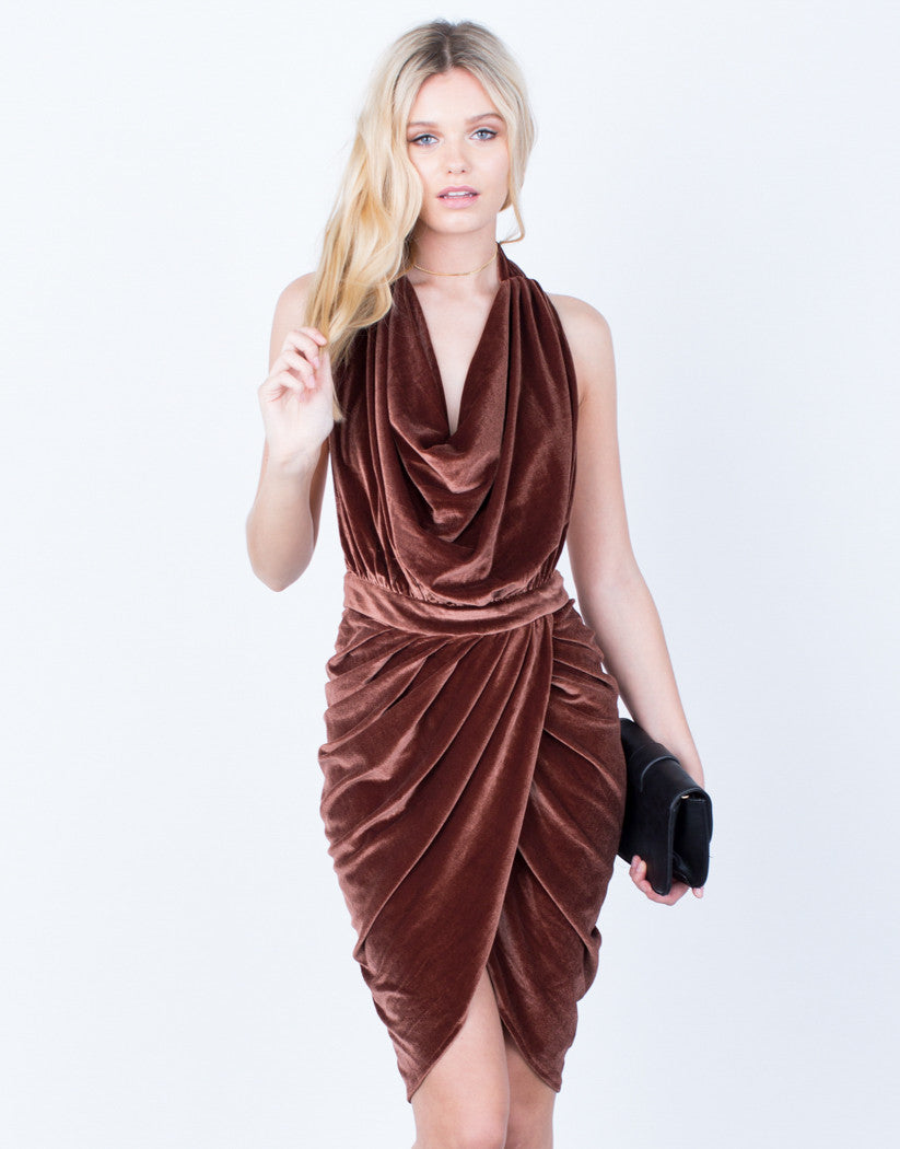 Front View of Velvet Halter Dress