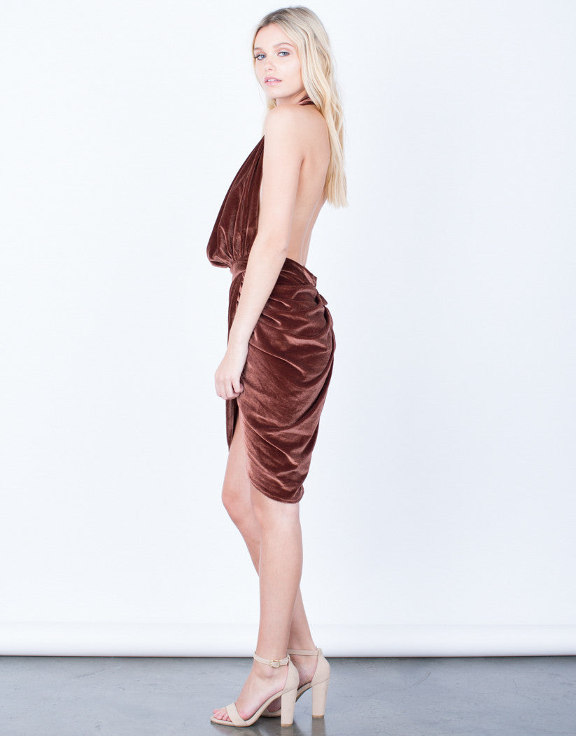 Side View of Velvet Halter Dress