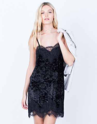 Front View of Velvet Lace Dress