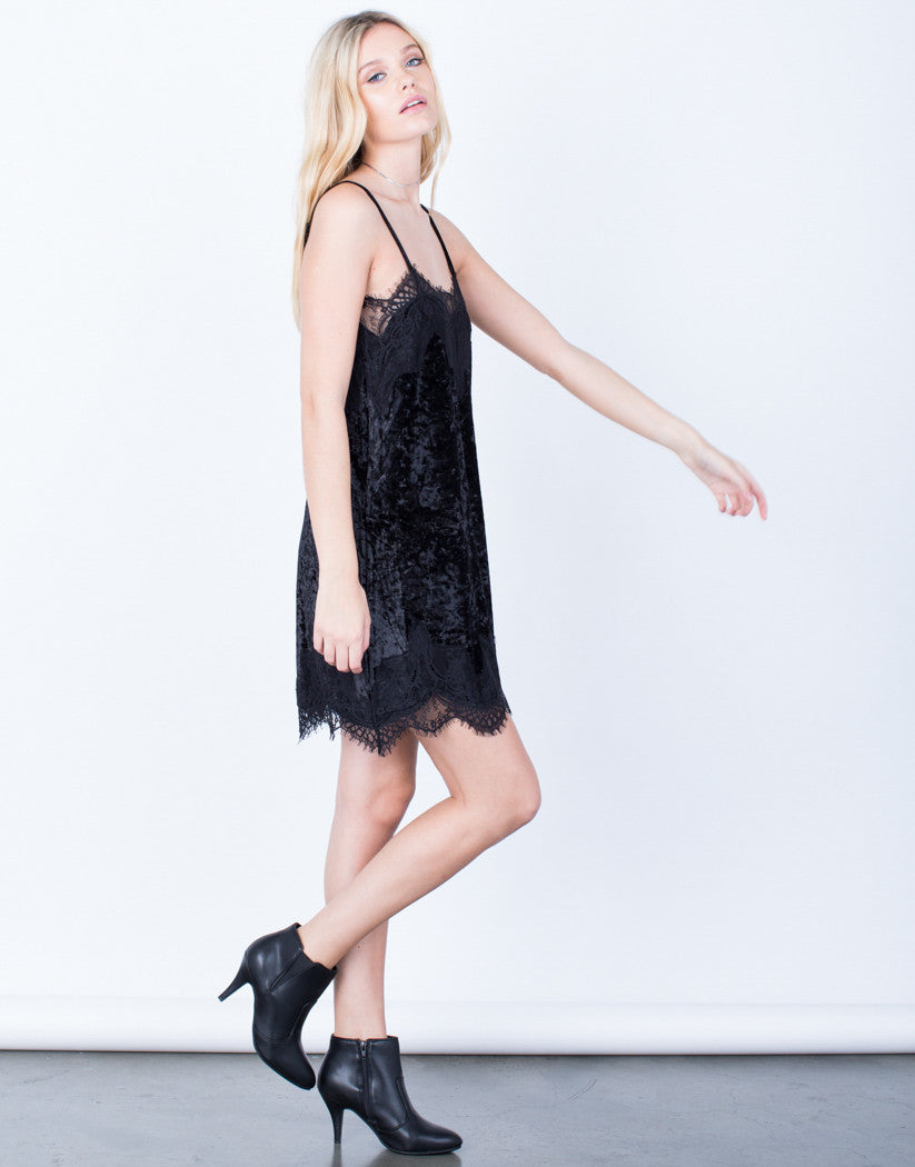 Side View of Velvet Lace Dress