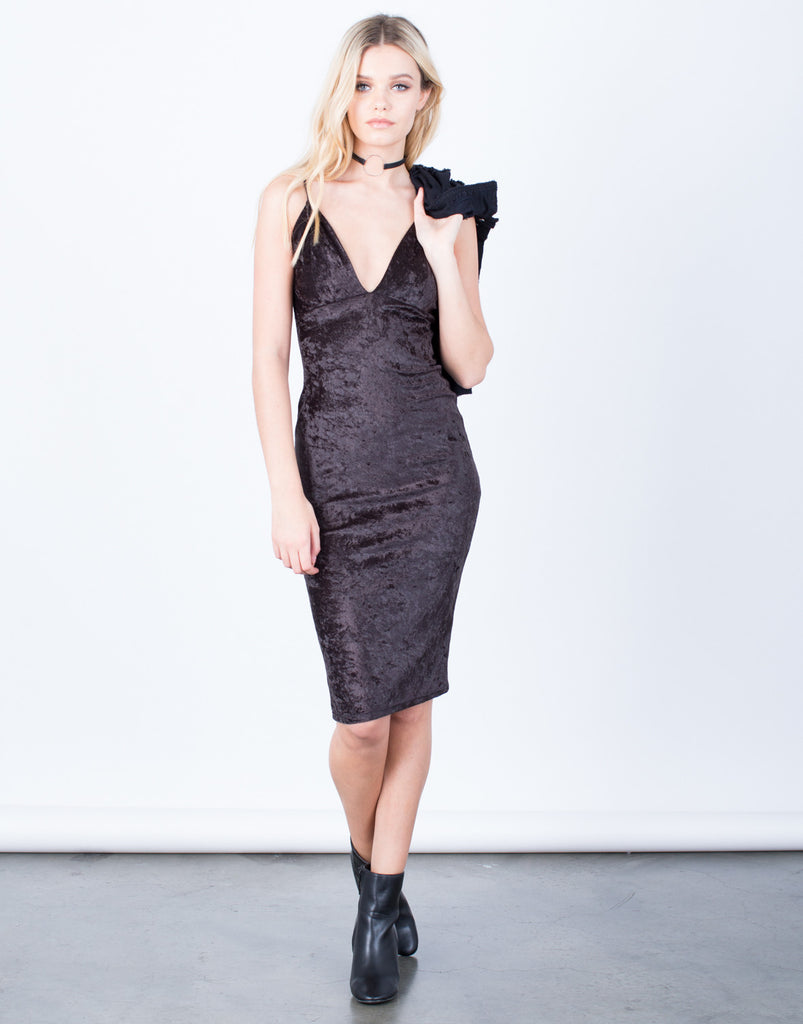 Front View of Velvet Midi Slip Dress