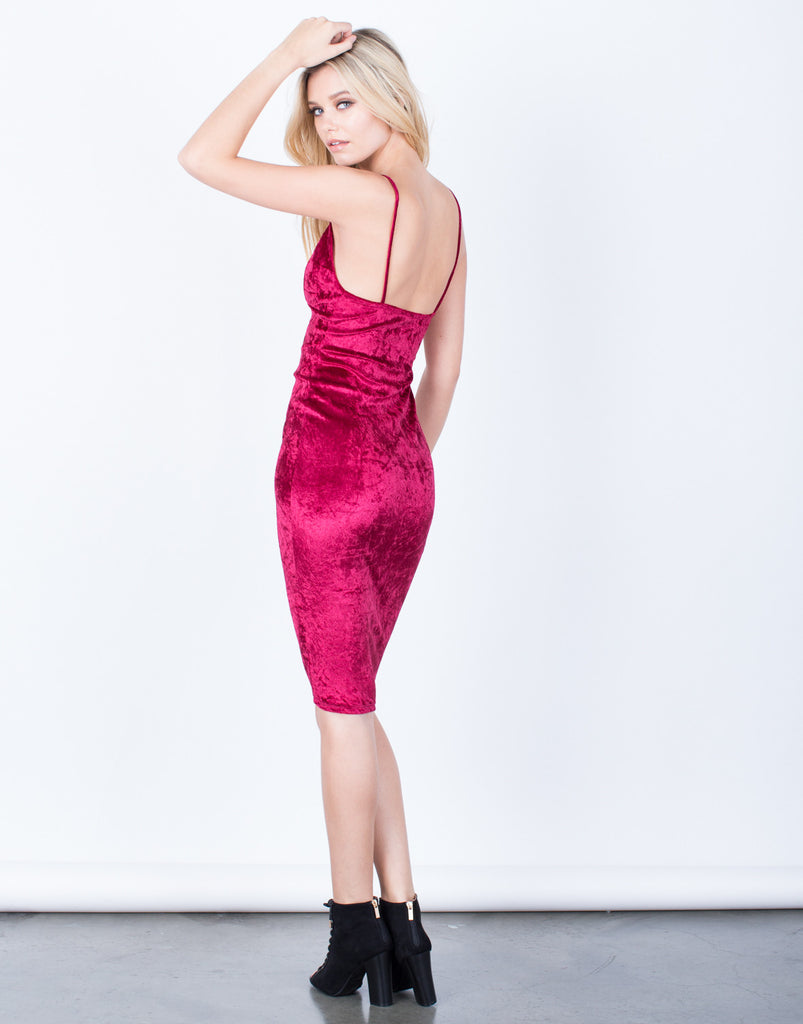 Back View of Velvet Midi Slip Dress