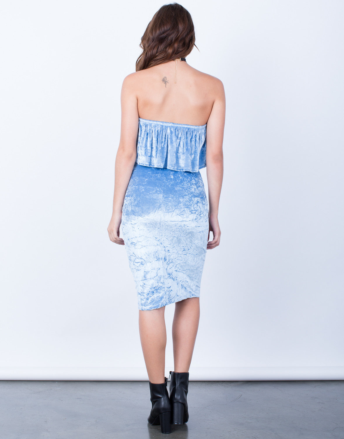 Back View of Velvet Ruffled Dress