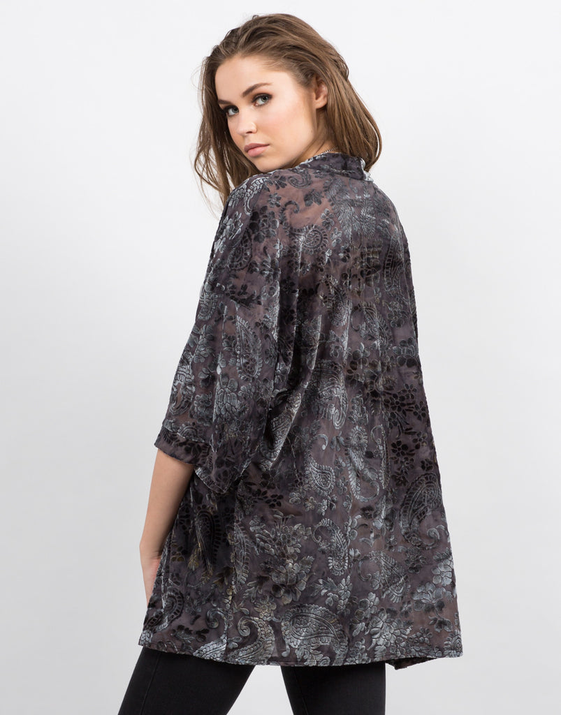 Back View of Velvet Burnout Kimono