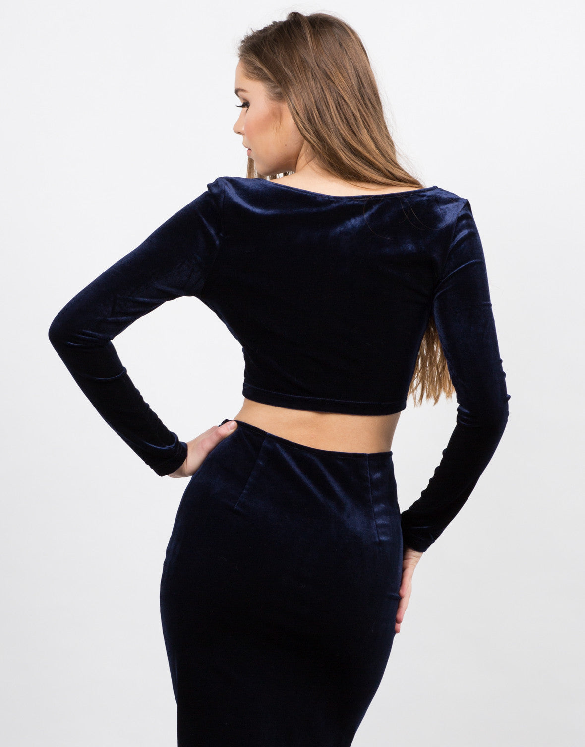 Back View of Velvet Crop Top
