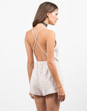 Back View of Velvet Floral Romper