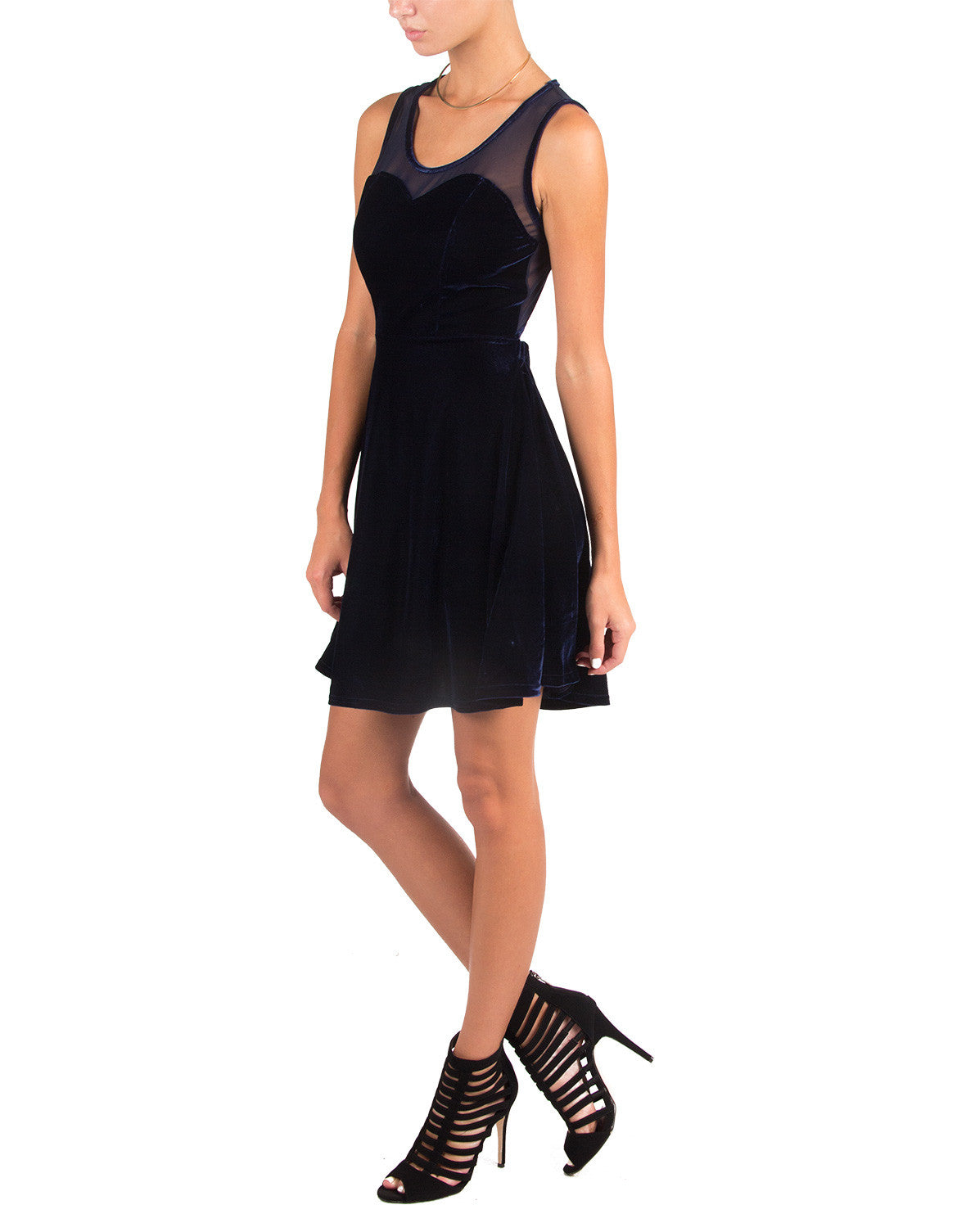 Velvet Mesh Skater Dress - Navy - Cecico 6P8384-Navy