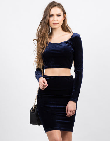 Front View of Velvet Bodycon Skirt