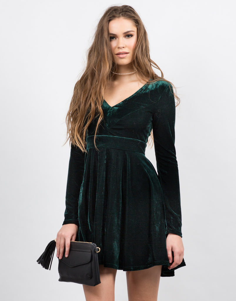 Front View of Velvet Party Dress
