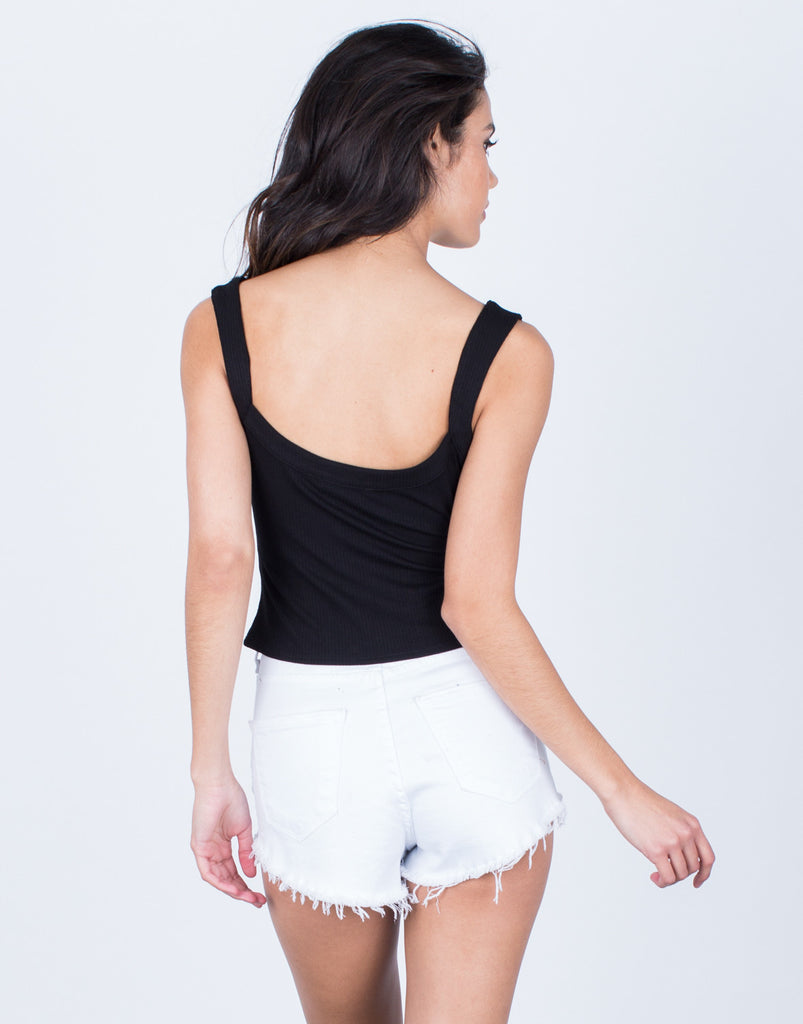 Back View of Versatile Lace-Up Crop Top