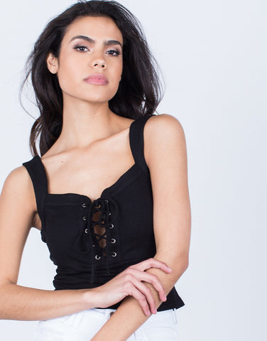 Detail of Versatile Lace-Up Crop Top