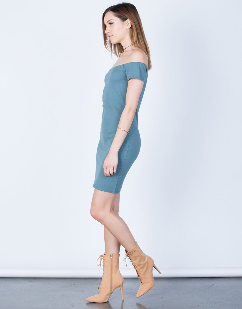 Side View of Versatile Off-the-Shoulder Dress