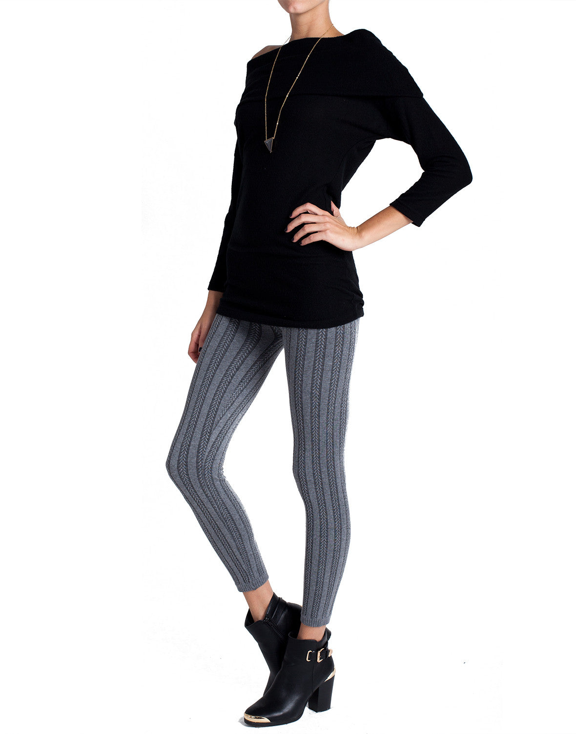 Vertical Striped Pattern Leggings - Gray