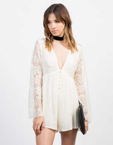 Front View of Victorian Lacey Romper