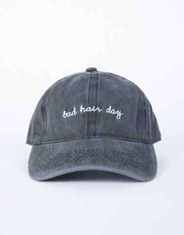 Black Vintage Bad Hair Day Cap - Front View