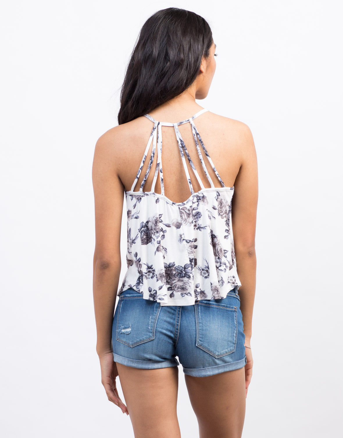 Back View of Vintage Floral Cami Tank
