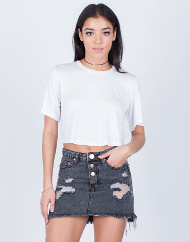 Front View of Vintage Wash Denim Skirt