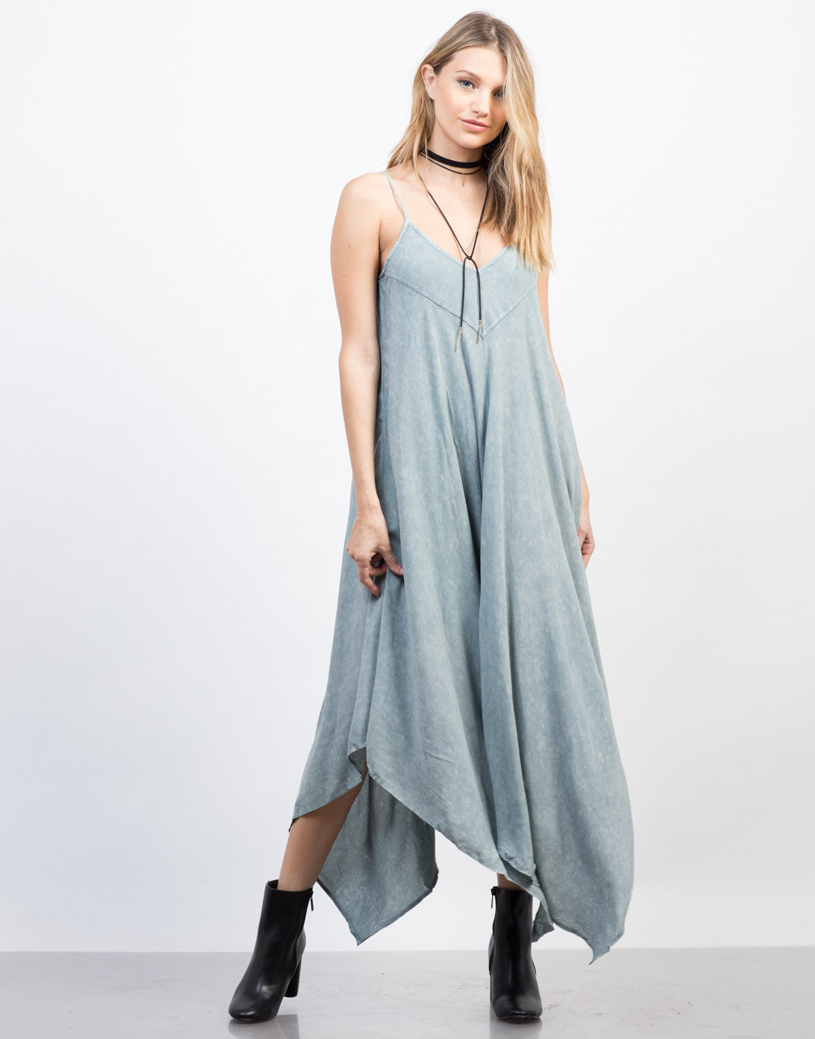 Front View of Vintage Wash Maxi Dress