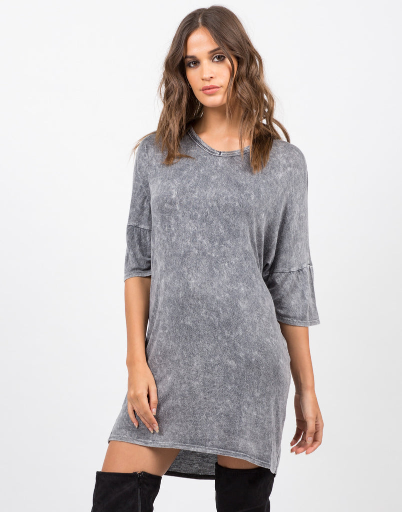 Front View of Vintage Faded T-Shirt Dress
