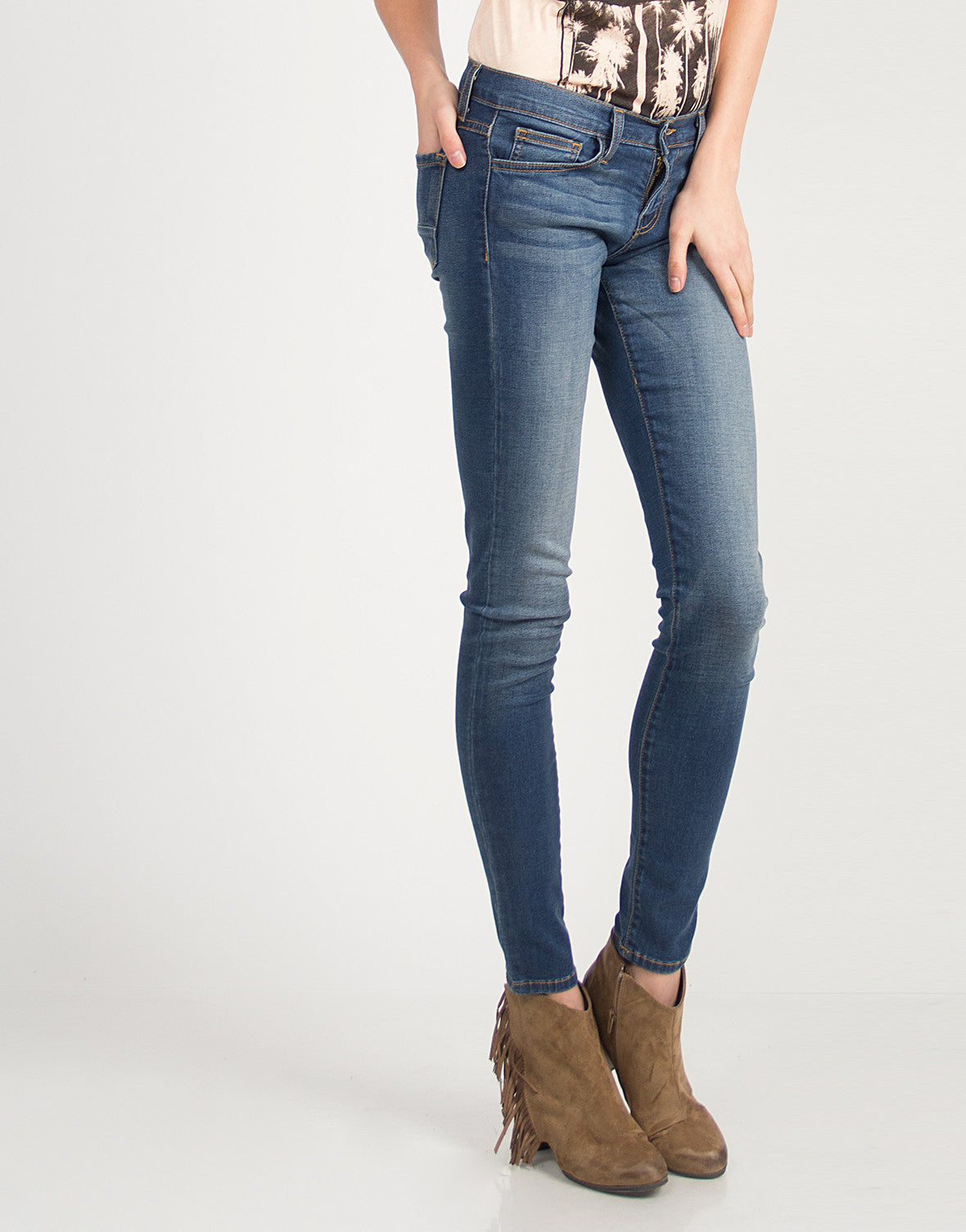 Vintage Faded Wash Skinny Jeans