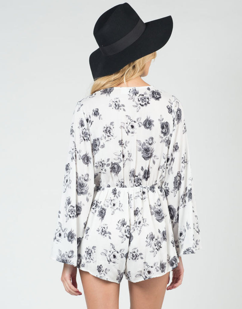 Back View of Vintage Floral Romper