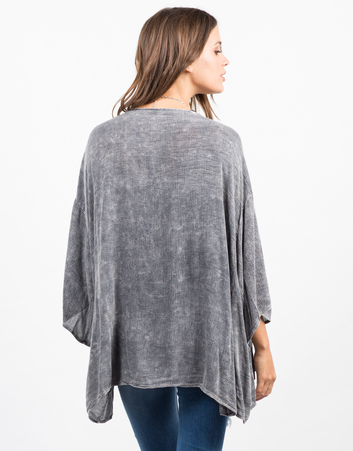 Back View of Vintage Washed Cardigan