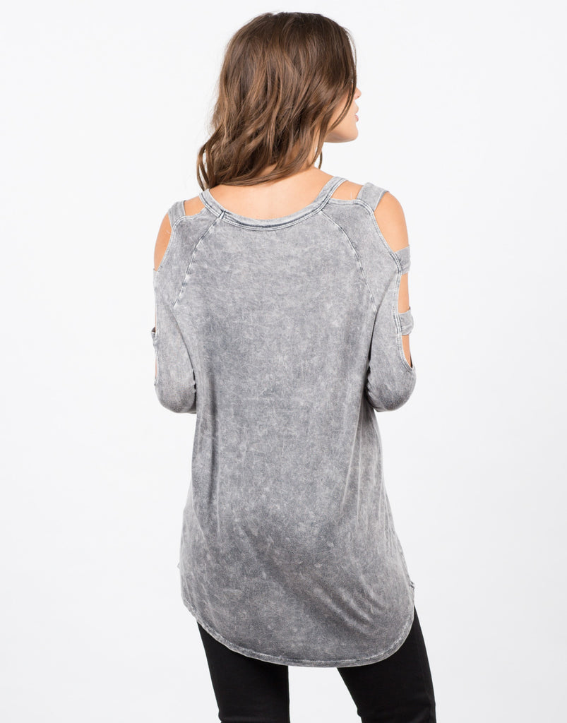 Back View of Vintage Washed Cold Shouler Top