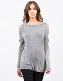 Front View of Vintage Washed Cold Shouler Top