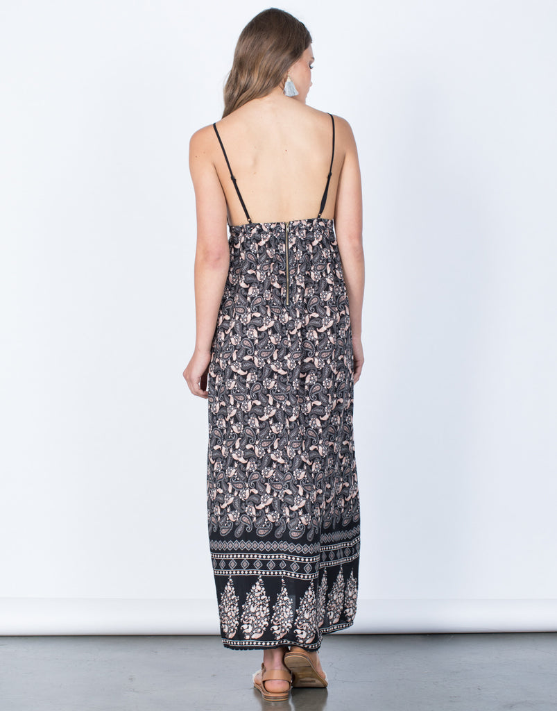 Back View of Vivian Paisley Dress