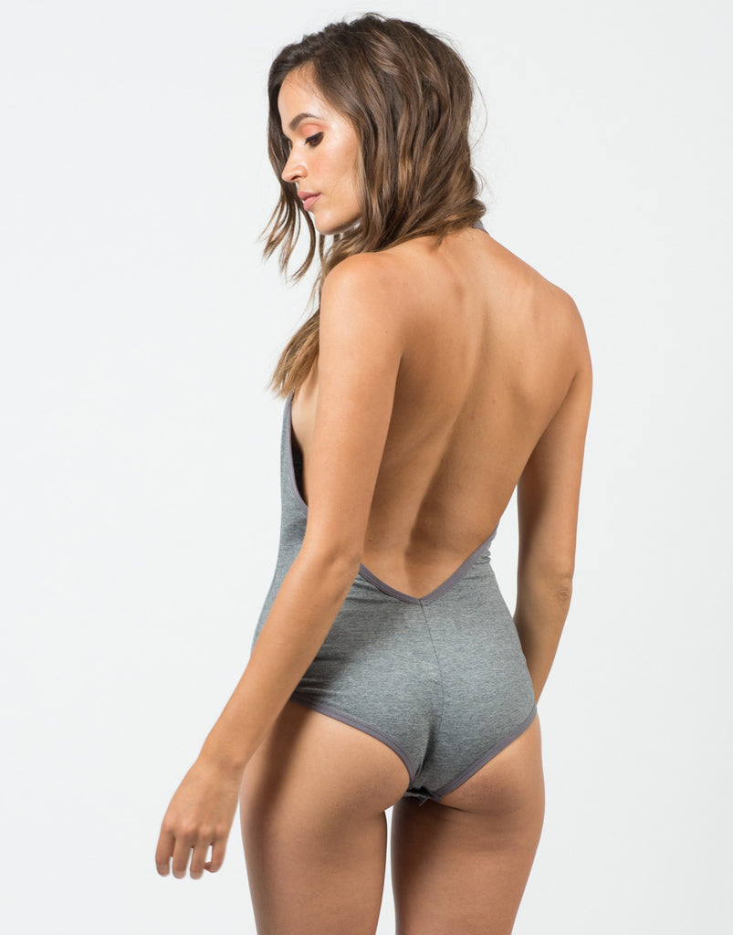 Back View of V-Neck Halter Bodysuit