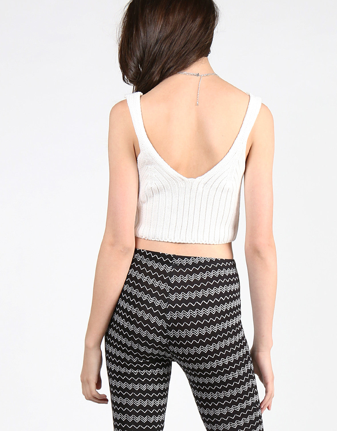 V-Neck Knit Cropped Tank - Off White