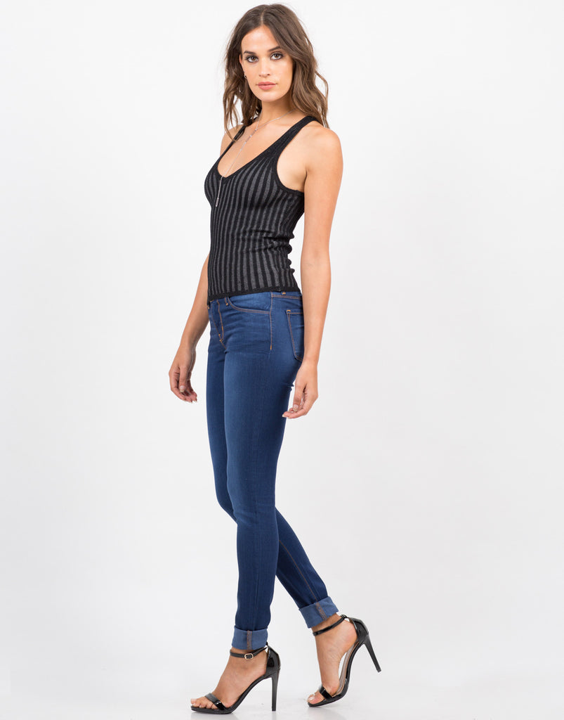 Side View of V-Neck Ribbed Knit Tank