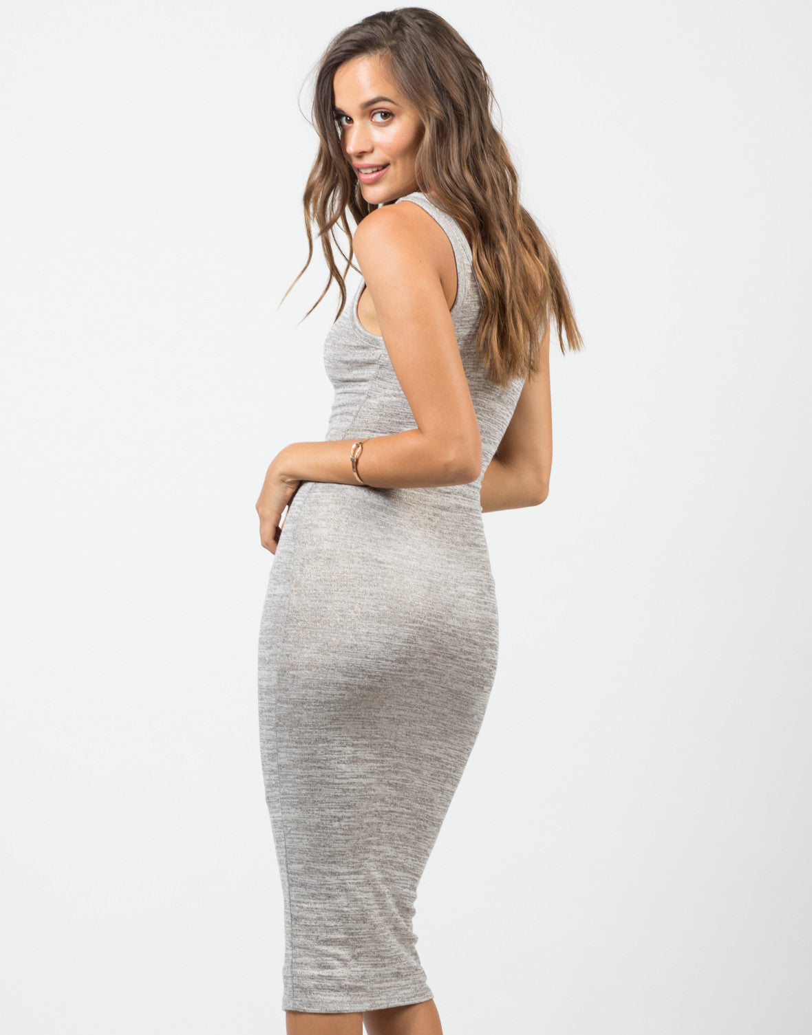 Back View of V-Neck Tank Midi Dress