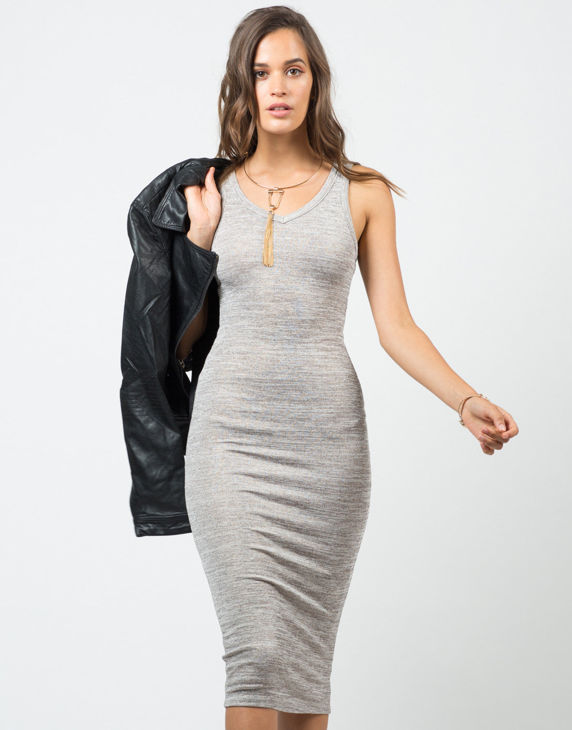 Front View of V-Neck Tank Midi Dress