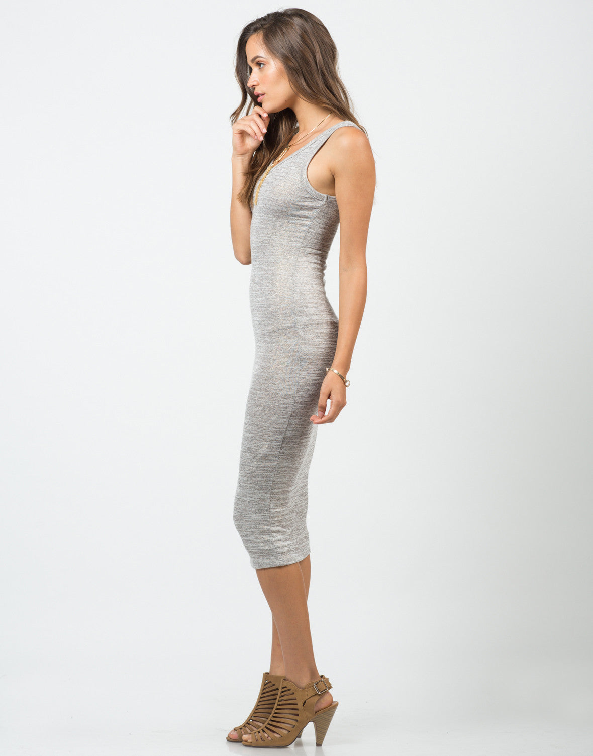 Side View of V-Neck Tank Midi Dress