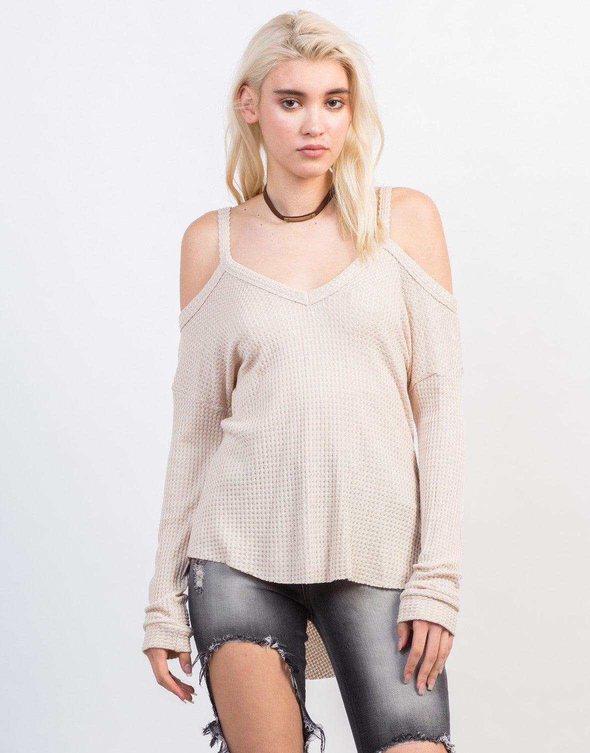 Front View of Waffle Cold Shoulder Top