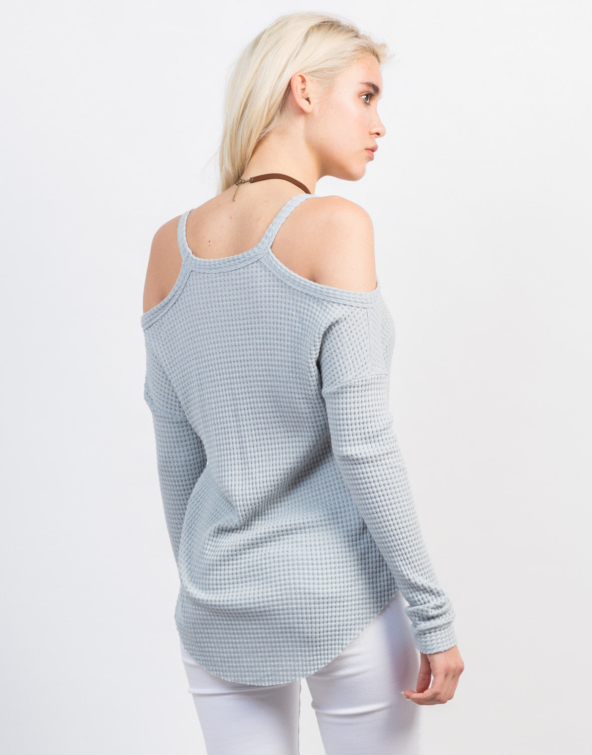Back View of Waffle Cold Shoulder Top