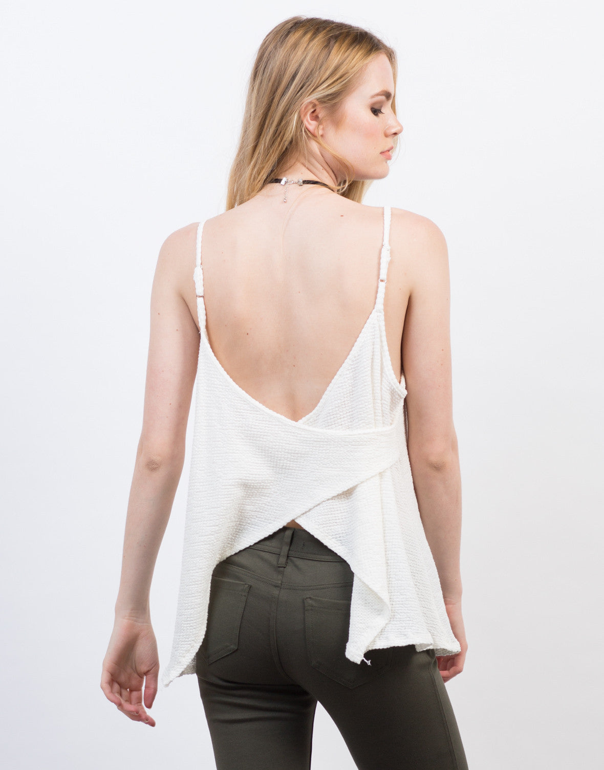 Back View of Waffle Cross Back Top