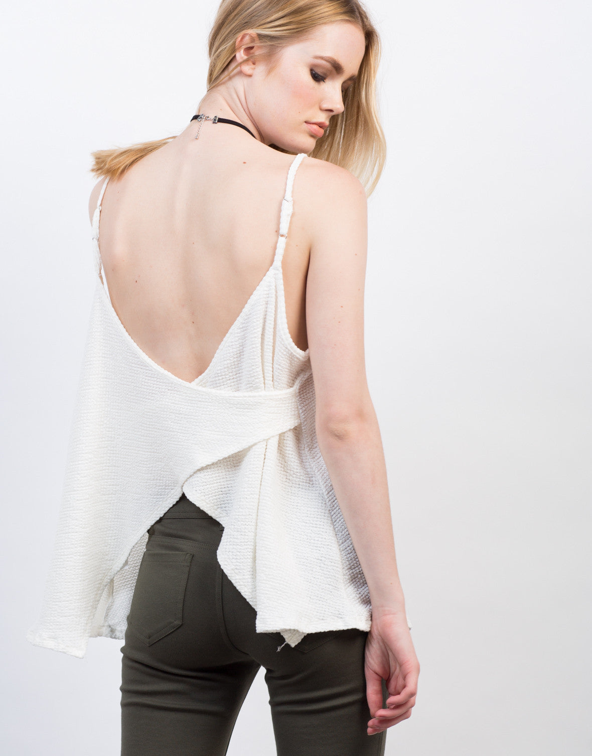 Detail of Waffle Cross Back Top