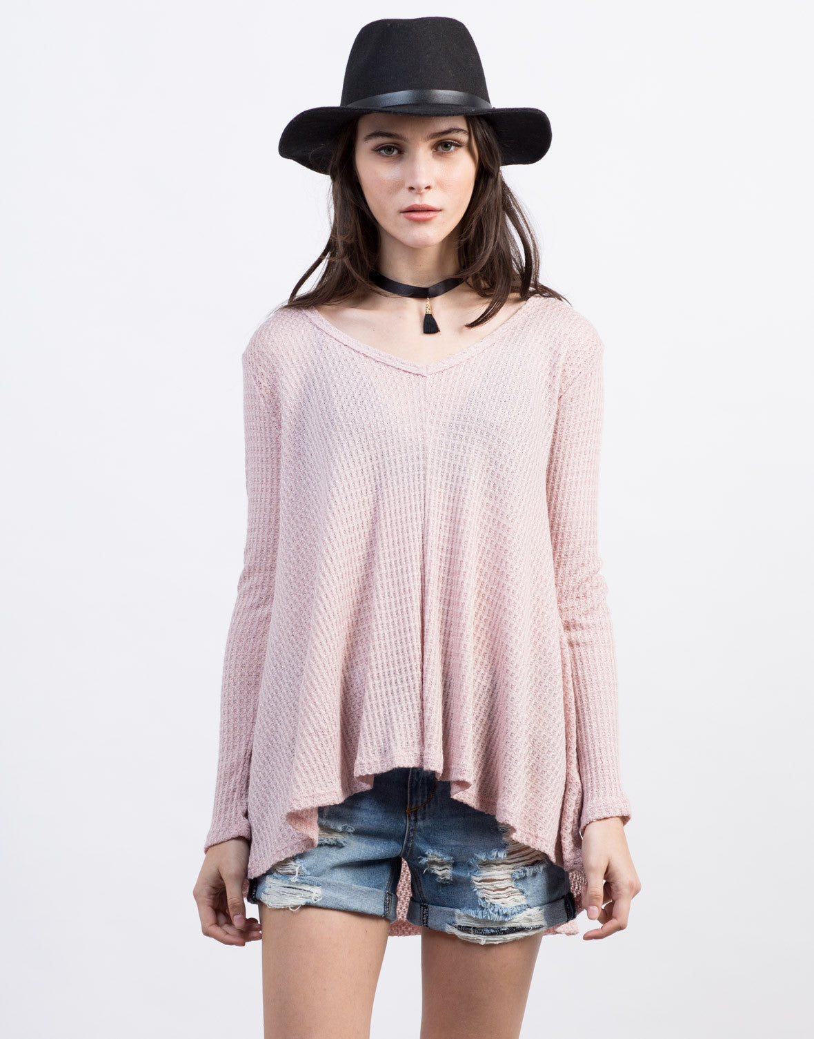 Waffle Detailed Flowy Top