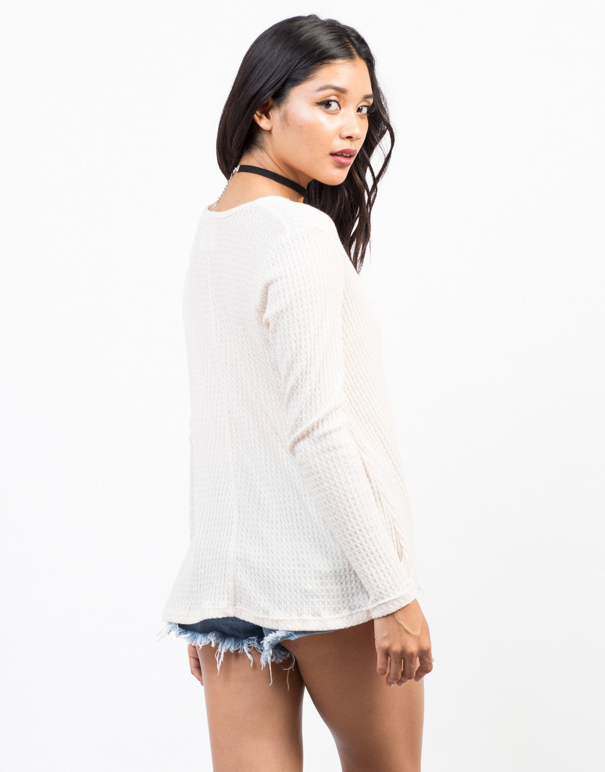 Back View of Waffle Henley Long Sleeve Tee