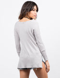 Back View of Waffle Long Sleeve Top