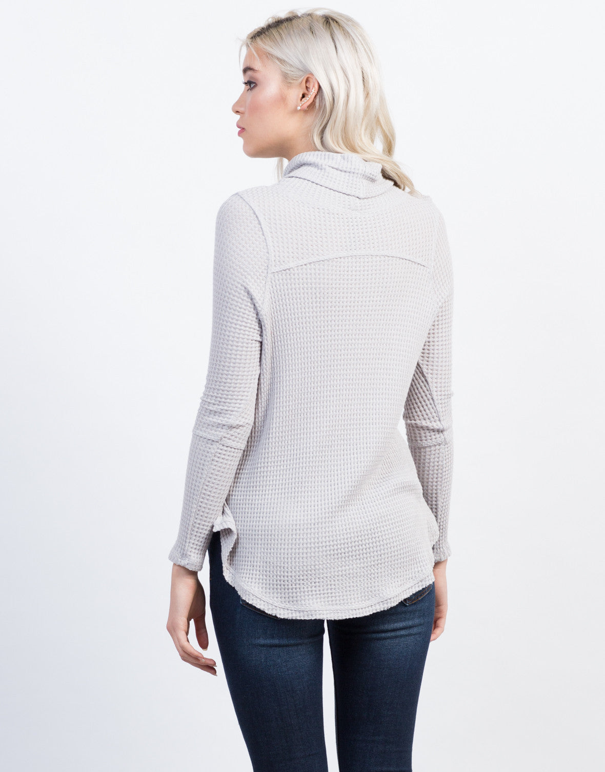 Back View of Waffle Turtleneck Top