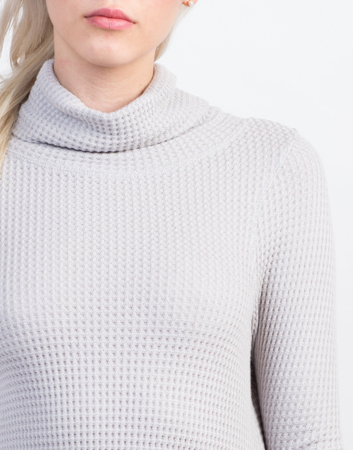 Detail of Waffle Turtleneck Top