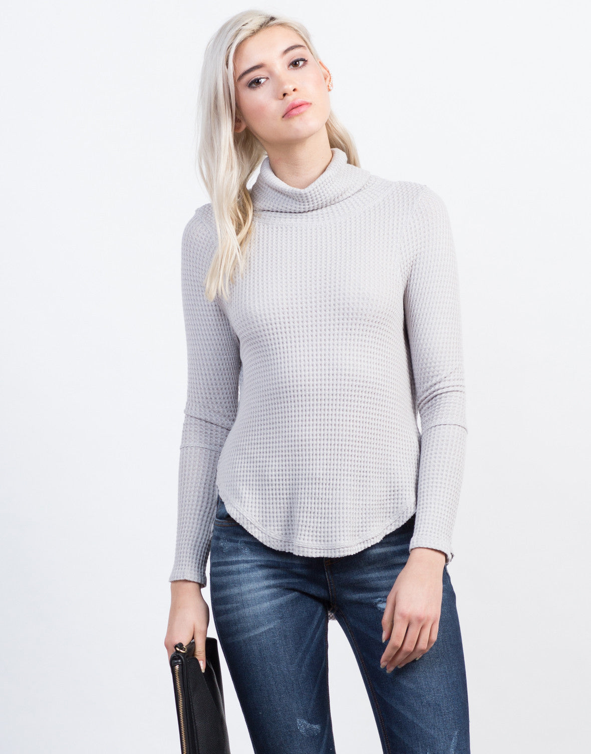 Front View of Waffle Turtleneck Top