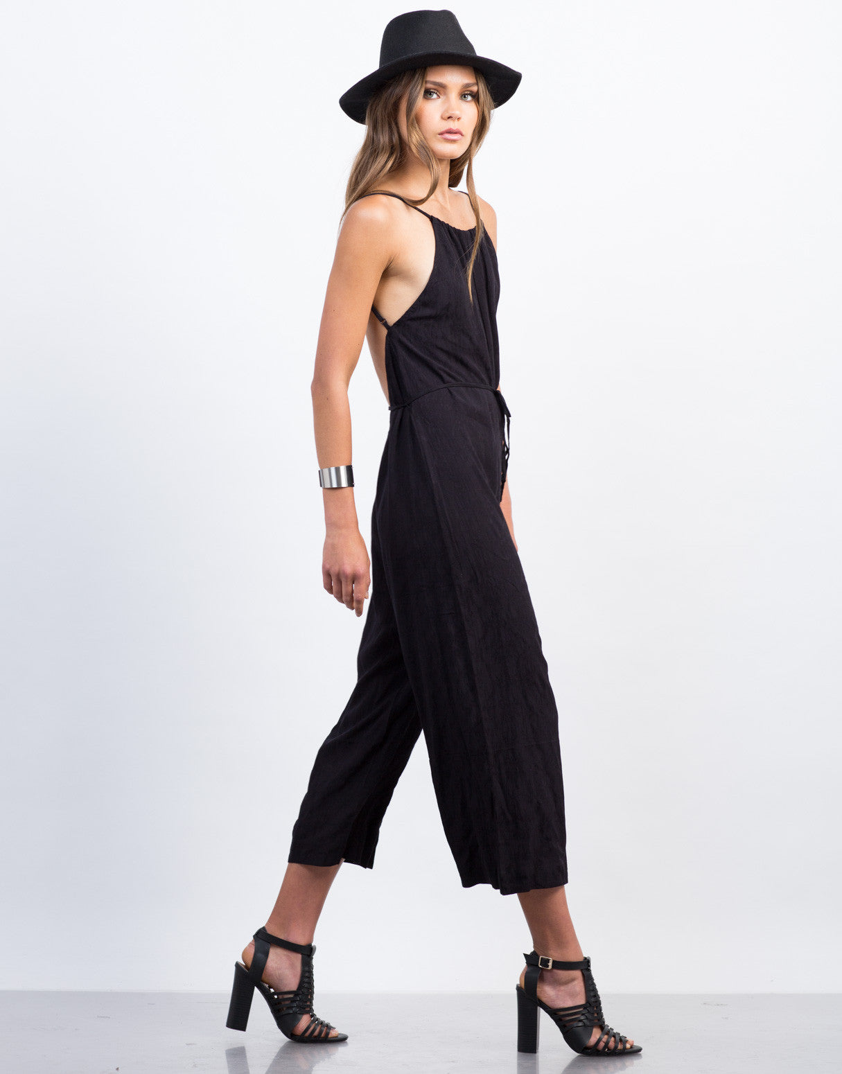 Side View of Waist Tie Printed Culotte Jumpsuit